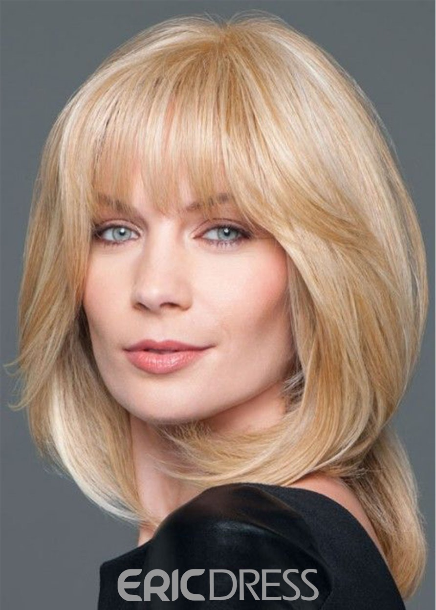 Blonde Color Human Hair Wigs Women's Medium Layered Hairstyles Natural Straight Lace Front Cap Wigs 18Inch