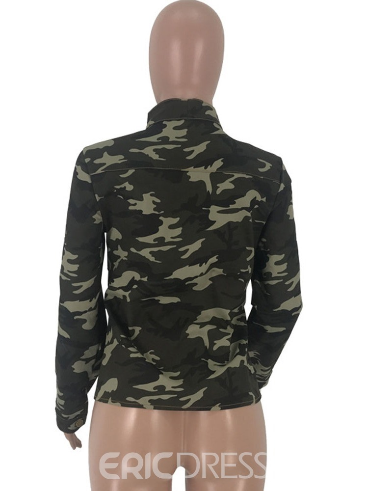 Ericdress Camouflage Long Sleeve Standard Blouse