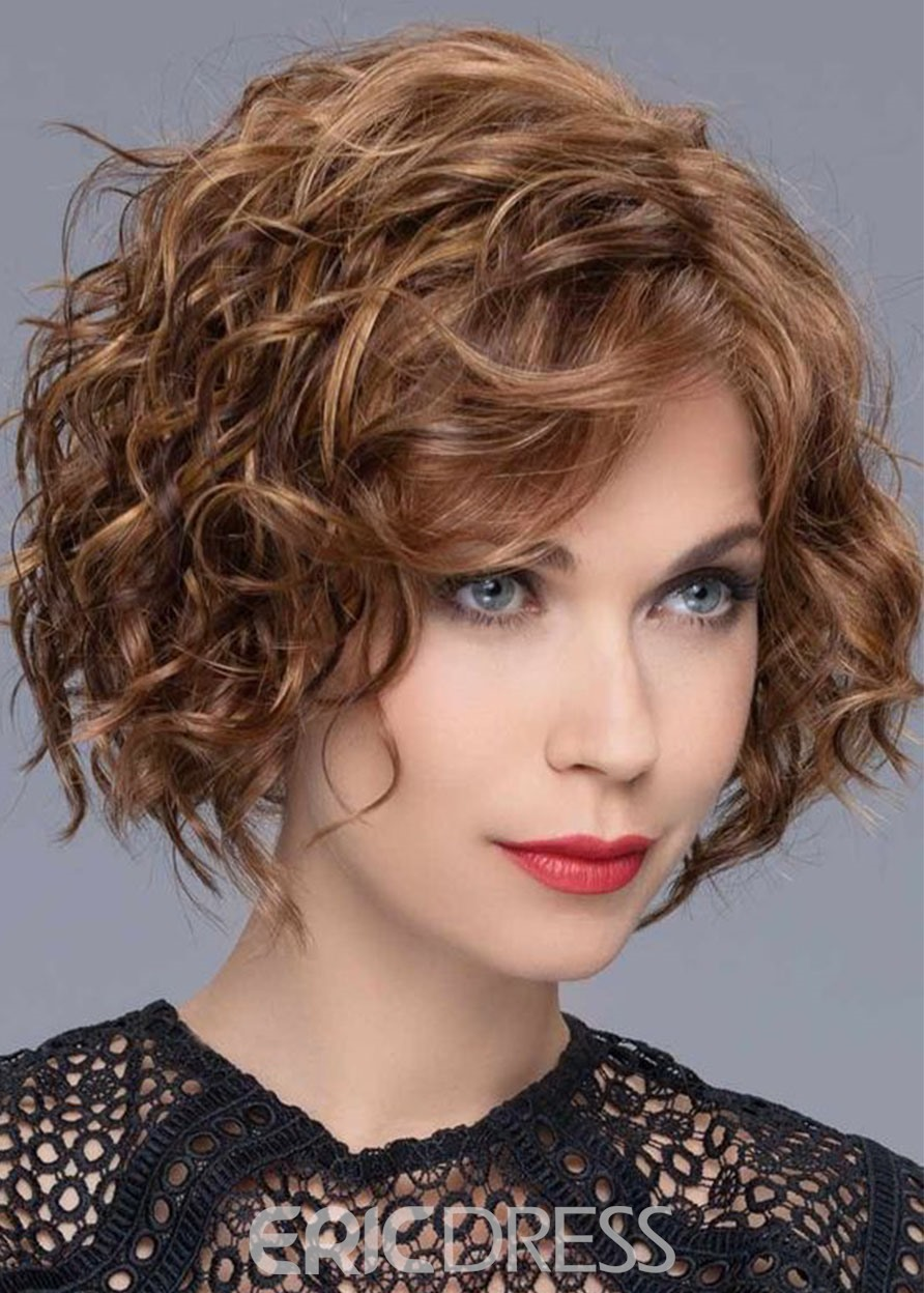 Ericdress 120% Density Women's Middle Length Brown Color Hairstyles Curly Human Hair Wigs Rose Lace Front Wigs 16Inch