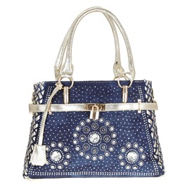 Ericdress Geometric Belt-Decorated Denim Rectangle Tote Bags