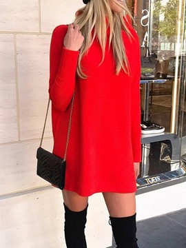 Ericdress Above Knee Long Sleeve Stand Collar Winter Regular Dress