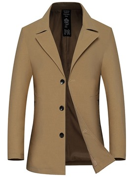 Ericdress Plain Mid-Length Button Casual Single-Breasted Trench Coat