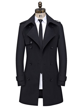 ericdress trench-coat slim mi-long boutonné à double boutonnage