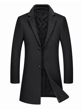 Ericdress Mid-Length Notched Lapel Plain A Line Men's Coat