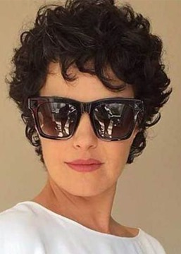 Ericdress Trending Women's Short Curly Hairstyles Short Length Synthetic Hair Wigs Lace Front Cap Wigs 8Inch