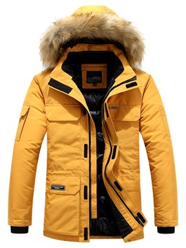 Ericdress Hooded Color Block Casual Men's Down Jacket