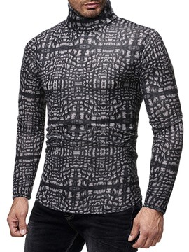 Ericdress Turtleneck Print Casual Long Sleeve Slim Men's Shirt