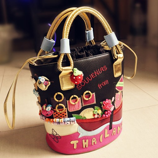 Ericdress Cartoon Thread PU Barrel-Shaped Tote Bags