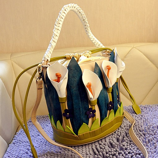 Ericdress Floral Patchwork PU Barrel-Shaped Tote Bags