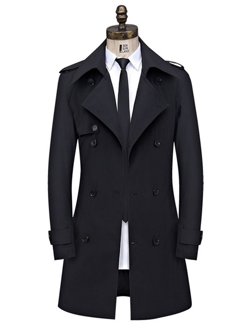 Ericdress Plain Button Double-Breasted Men's Slim Trench Coat