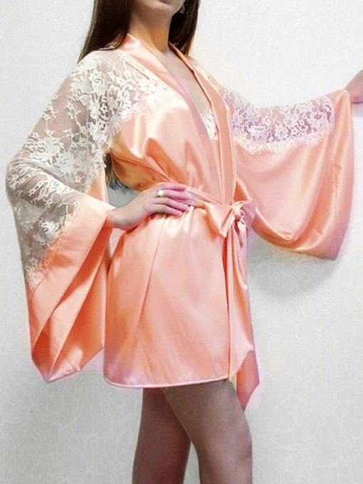 Ericdress Lace Patchwork Color Block Sexy Robe Pajama Suit