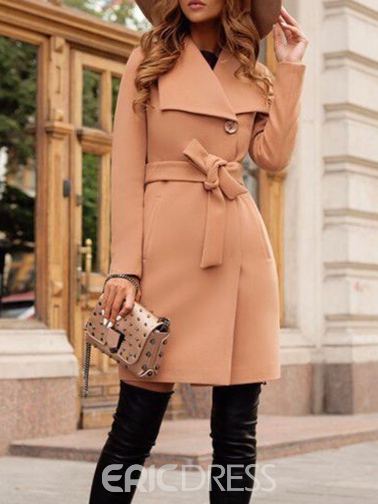 Ericdress A Line Regular Mid-Length Overcoat