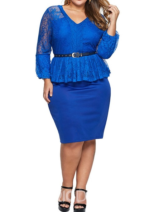 Ericdress Plus Size V-Neck Knee-Length Hollow Mid Waist Pullover Dress