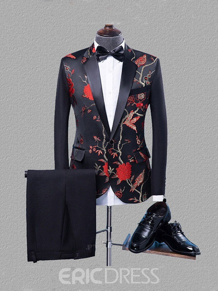 Ericdress Color Block Pants Button Men's Dress Suit