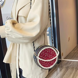 Ericdress Knitted PU Circular Crossbody Bags