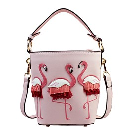Ericdress Applique Animal PU Barrel-Shaped Tote Bags