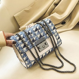 Ericdress Plaid Lock PU Rectangle Crossbody Bags
