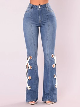 ericdress bellbottoms agujero slim jeans