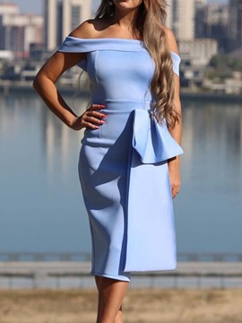 Ericdress Bowknot Short Sleeve Mid-Calf Bodycon Cold Shoulder Dress