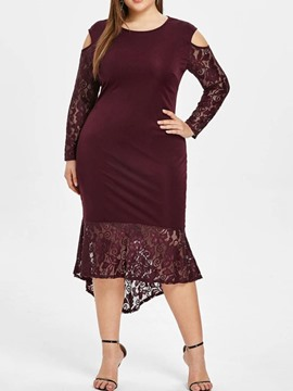 Ericdress Plus Size Long Sleeve Asymmetric Round Neck Spring Floral Dress