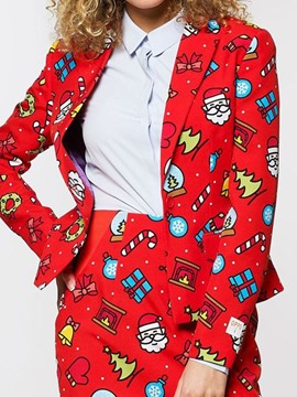 Ericdress One Button Long Sleeve Cartoon Standard Christmas Casual Women's Blazer