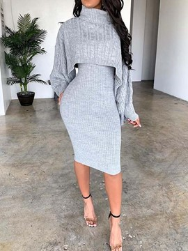 Ericdress Plain Casual Turtleneck Two Piece Sets