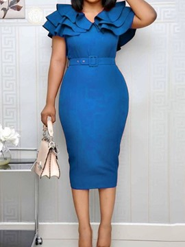Ericdress V-Neck Split Short Sleeve Bodycon Ruffle Dress