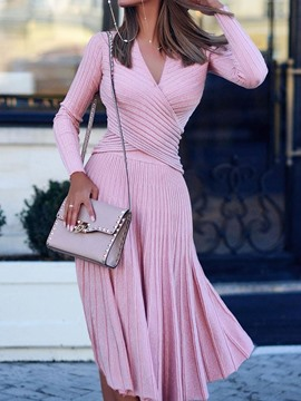 Ericdress Pleated V-Neck Long Sleeve Spring Standard-Waist Dress