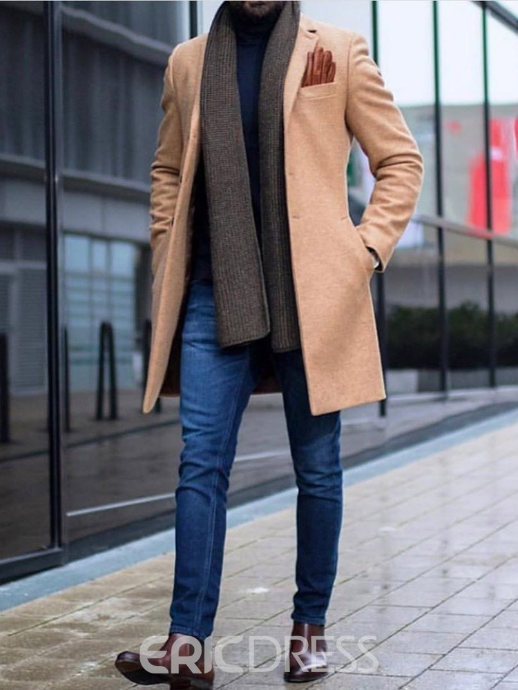 Ericdress Button Plain Mid-Length Single-Breasted Men's Casual Coat