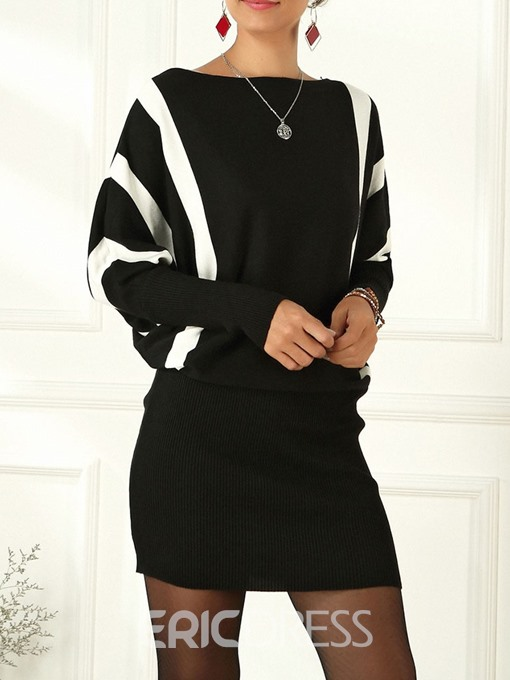 Ericdress Off Shoulder Long Sleeve Above Knee Bodycon Standard-Waist Dress