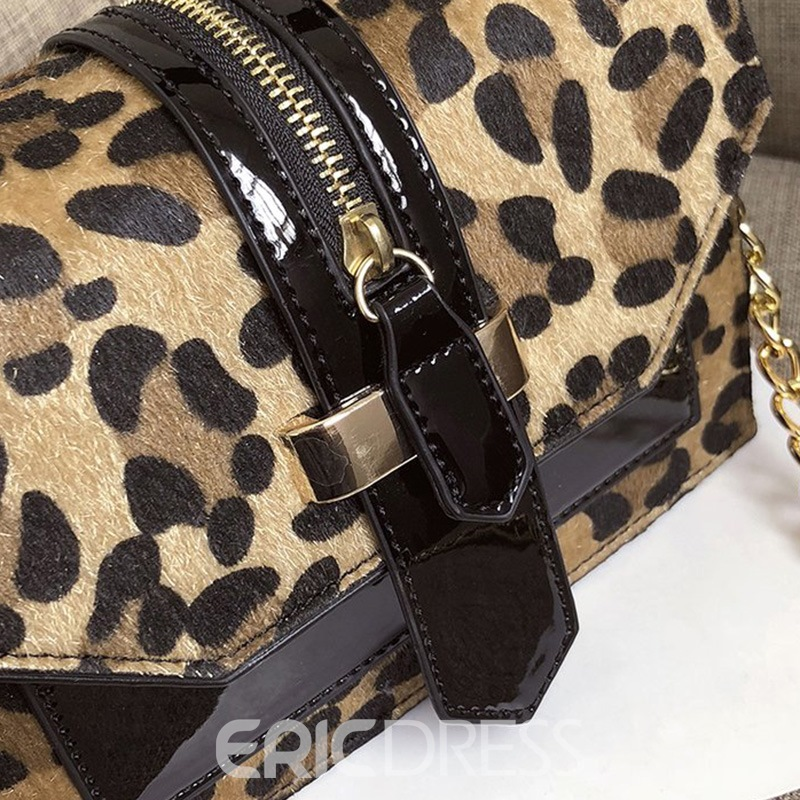 Ericdress Leopard Chain PU Flap Tote Bags