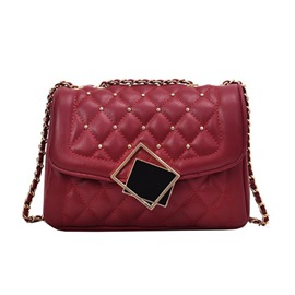 Ericdress Rivet PU Plaid Rectangle Shoulder Bags