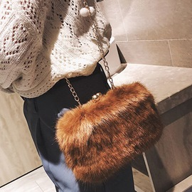 Ericdress Plain Faux Fur Chain Rectangle Crossbody Bags