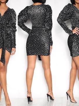 Ericdress Sequins Long Sleeve V-Neck Bodycon Fall Dress