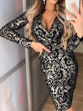Ericdress Above Knee V-Neck Long Sleeve Floral Vintage Dress