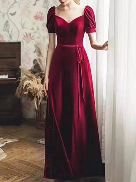 Ericdress Ribbons Short Sleeves Velvet Evening Dress 2019