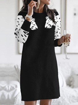 Ericdress Three-Quarter Sleeve Print Above Knee Casual Regular Dress