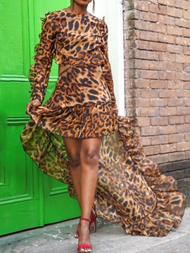 Ericdress Round Neck Floor-Length Long Sleeve Summer Leopard Dress