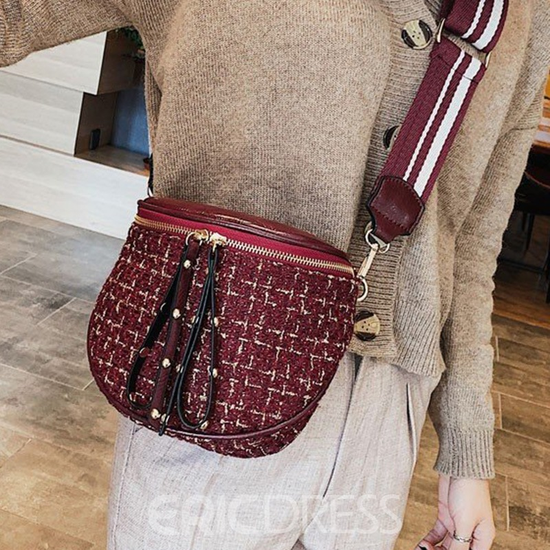 Ericdress Wool Blends Plaid Thread Saddle Crossbody Bags