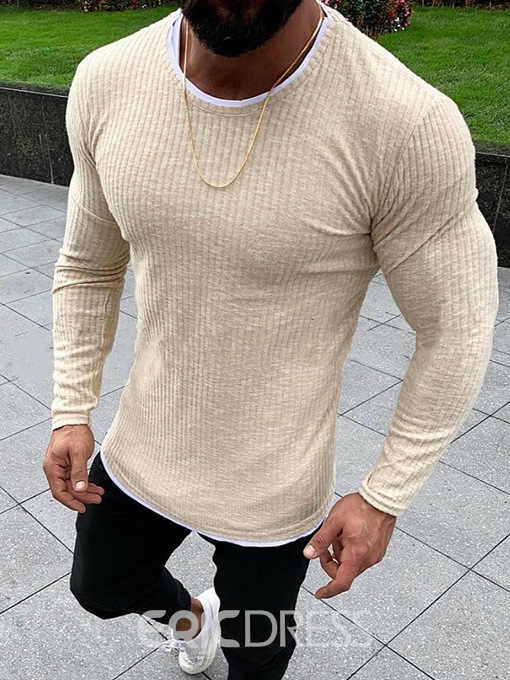 Ericdress Round Neck Standard Plain Men's Slim Sweater