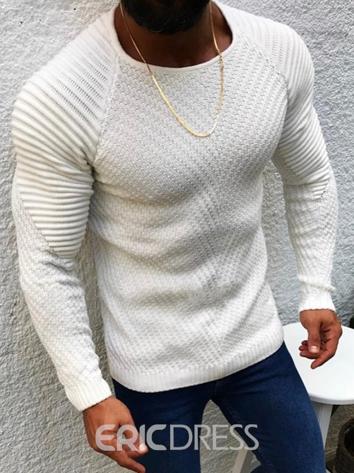 Ericdress Round Neck Mid-Length Plain Men's Slim Sweater