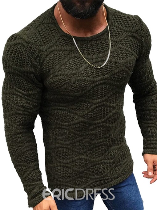 Ericdress Standard Plain Round Neck Slim European Men's Sweater