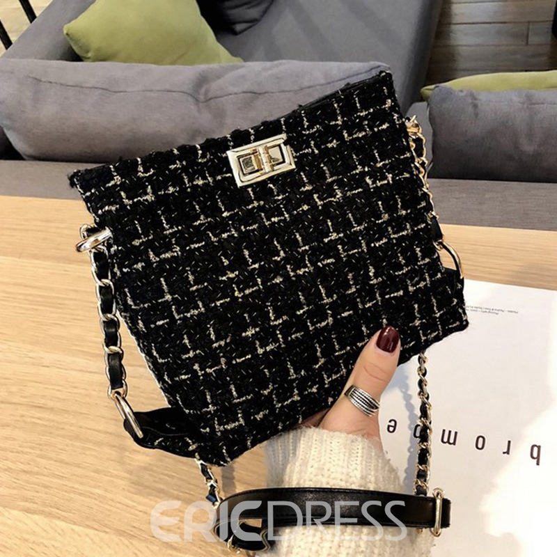 Ericdress Plaid Knitted Wool Blends Rectangle Crossbody Bags