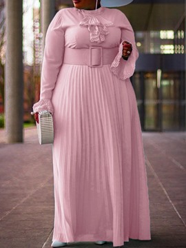 Ericdress Plus Size Pleated Stand Collar Floor-Length Plain Pleated Dress