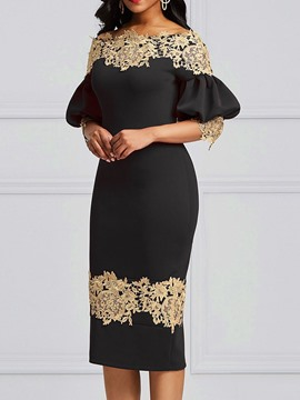 Ericdress Mid-Calf Off Shoulder Lace Bodycon Elegant Dress
