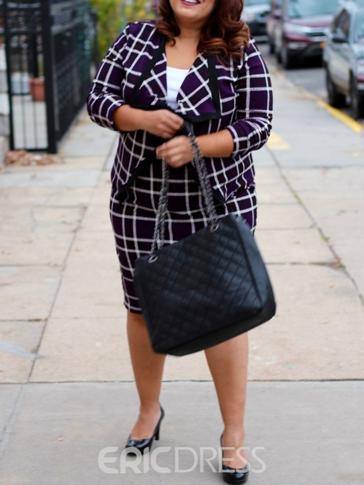Ericdress Plus Size Plaid Office Lady Bodycon Two Piece Sets