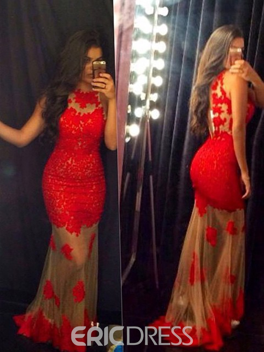 Ericdress Mermaid Red Lace Prom Dress