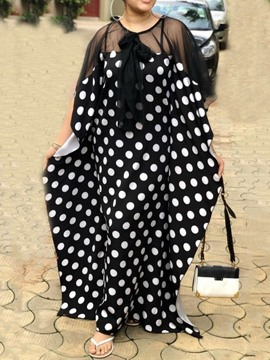 Ericdress Round Neck Floor-Length Print Polka Dots Straight Dress