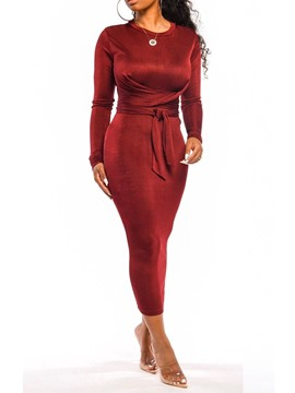 Ericdress Ankle-Length Long Sleeve Lace-Up Fall Pullover Dress