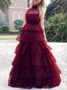 Ericdress Ball Gown Tiered High Neck Prom Dress